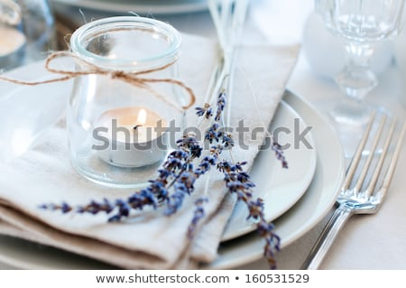 Wedding flowers - tables set for fine dining Stock photo © nuiiko