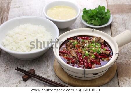 Kínai étel főtt marhahús szeletek bors leves Stock fotó © bbbar