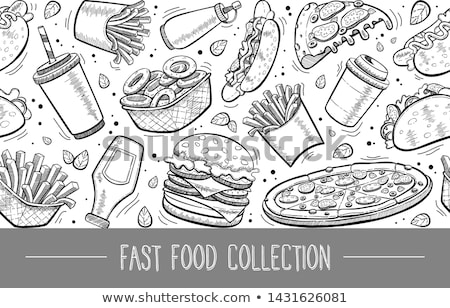 seamless background of fast food icons and hand drawn texts stock photo © elenapro