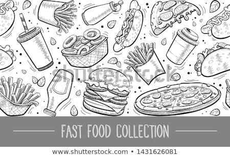 Sem costura fast-food ícones cão café Foto stock © elenapro