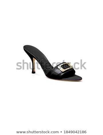 Primo piano shot nero fibbia scarpe Foto d'archivio © Elisanth