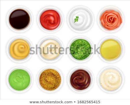 Pesto salsa legno sfondo cucchiaio sementi Foto d'archivio © M-studio