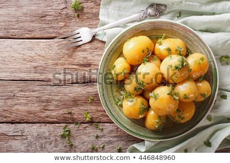 új krumpli zöld petrezselyem izolált fehér Stock fotó © natika