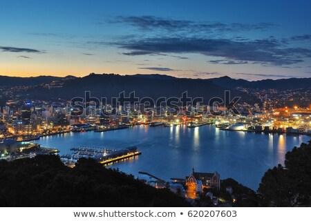Wellington liman ışıklar şehir liman yansıma Stok fotoğraf © rghenry