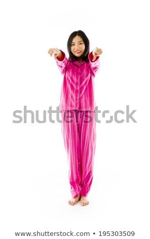 улыбаясь молодые азиатских женщину указывая камеры Сток-фото © bmonteny