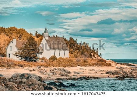 Templom falu Quebec Kanada víz ház Stock fotó © bmonteny