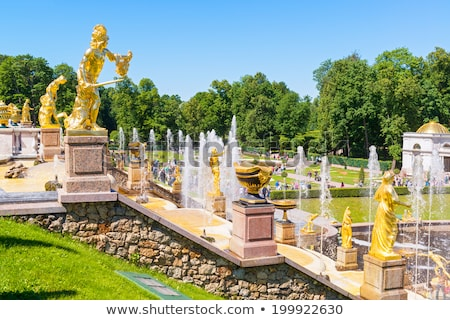panorama of famous petergof fountains in st petersburg stock photo © mikko