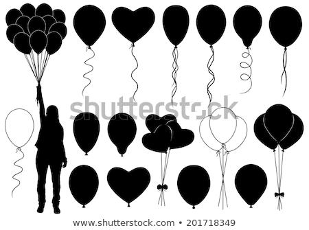 Balão silhuetas homem criança menino criança Foto stock © Slobelix