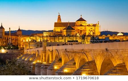 Foto stock: Mesquita · romano · ponte · belo · noite · Espanha