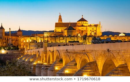 mosque mezquita and roman bridge at beautiful night spain stock photo © taiga