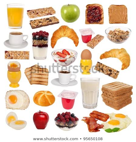 cereales · para · el · desayuno · leche · zumo · de · manzana · frescos · madera · vidrio - foto stock © raphotos
