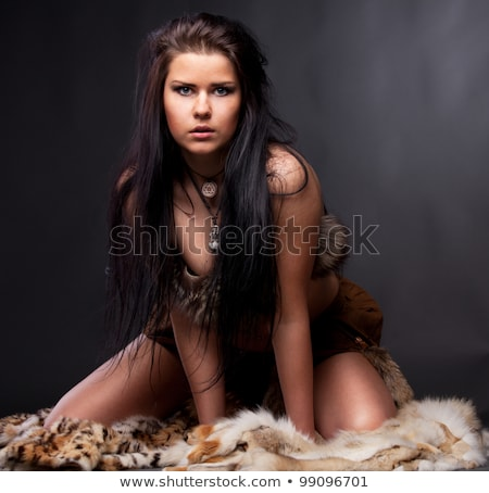 medieval girl sitting on stone stage stock photo © petrmalyshev
