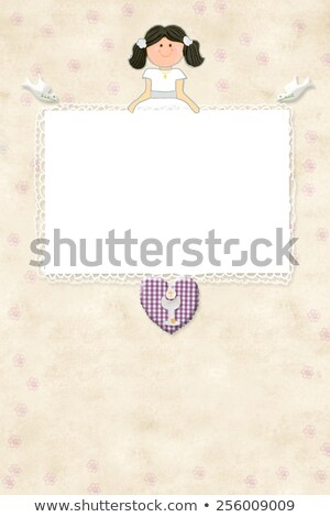 Stock fotó: Elsőáldozás · emlékeztető · kártya · barna · lány · enyém