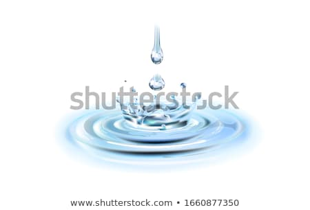 Vízcseppek gyűrű csobbanások fehér kék absztrakt Stock fotó © cosma