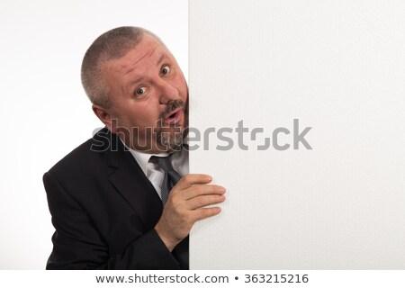 érett üzletember plakát boldog mutat fehér Stock fotó © AndreyPopov