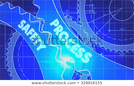 process management on the cogwheels blueprint style stock photo © tashatuvango