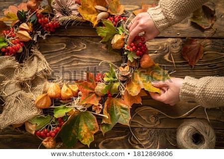 ősz · koszorú · tökök · fehér · fa · tárgy - stock fotó © voysla