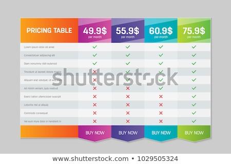 Vector precios mesa plantilla suscripción plan Foto stock © netkov1