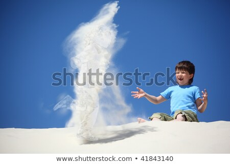 fiú · ül · homok · készít · kislány · kollázs - stock fotó © Paha_L