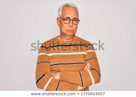 полосатый свитер довольно женщину женщины красивой Сток-фото © disorderly