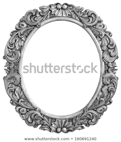 oval wooden silver plated frame stock photo © smuki