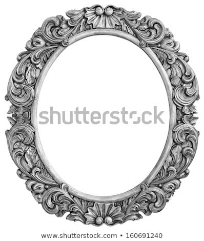 овальный серебро кадр старые изолированный Сток-фото © smuki