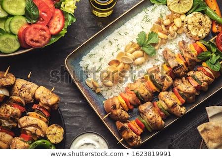 Kip kebab rijst bed witte hout Stockfoto © Digifoodstock