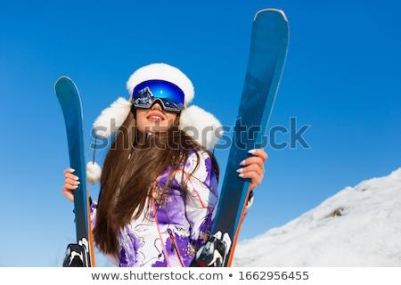 mulher · jovem · sorridente · esquiar · recorrer · sorrir · mulheres - foto stock © Burchenko