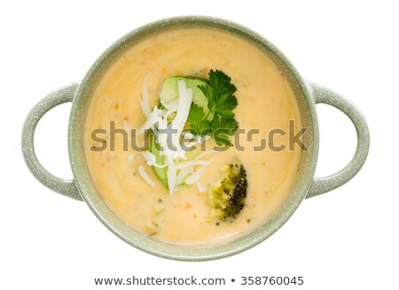 overhead view of soup in bowls with handles stock photo © ozgur