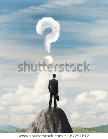 üzletember · kő · hegy · kérdőjel · áll · perem - stock fotó © ra2studio