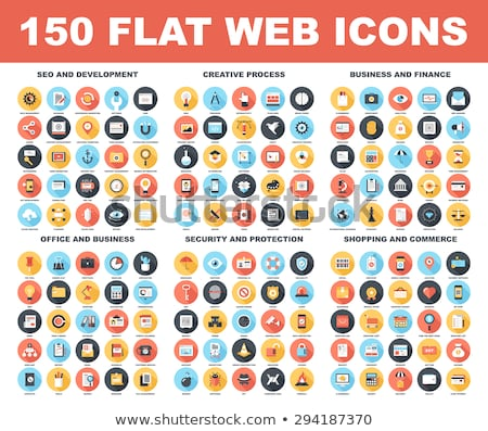Photo stock: Flat Design Protection And Security Icons Set