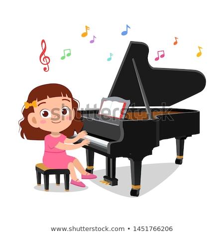 ストックフォト: 少女 · ピアノ · 写真 · 演奏 · ノート · 女性
