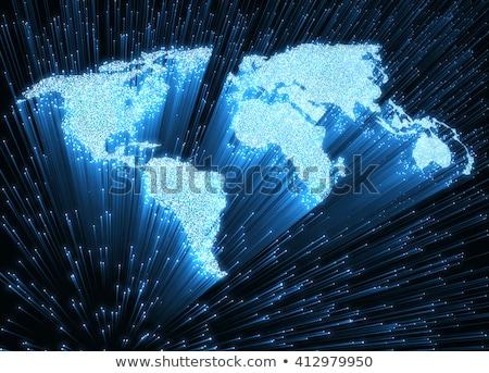 Világ optikai rost forma világtérkép 3D Stock fotó © idesign
