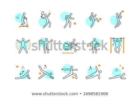 Férfi fut futópad vonal ikon sarkok Stock fotó © RAStudio