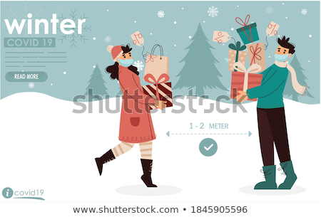 woman is walking in snow Stock photo © lostation