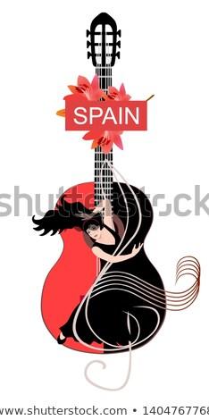 девушки танцы фламенко силуэта белый танцовщицы Сток-фото © liolle