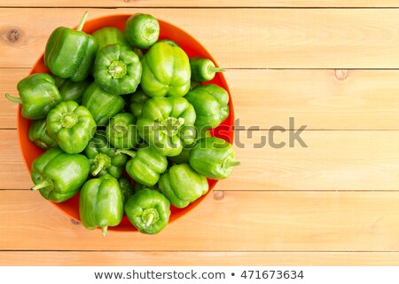 Overhead view of large red bowl filled peppers Stock photo © ozgur