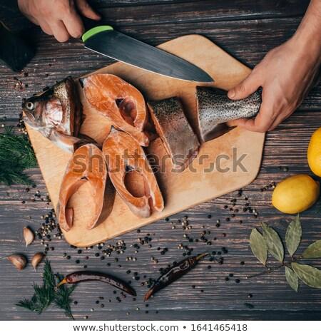 Japán konyha kés vág fa deszka részletes Stock fotó © Studiotrebuchet