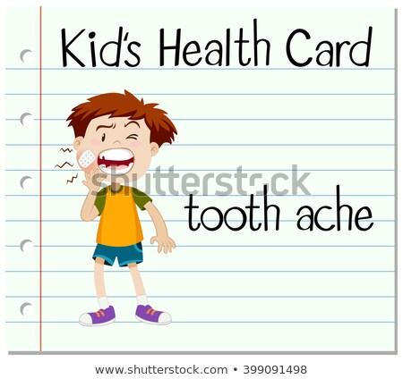 Egészség kártya fiú fogfájás illusztráció gyermek Stock fotó © bluering