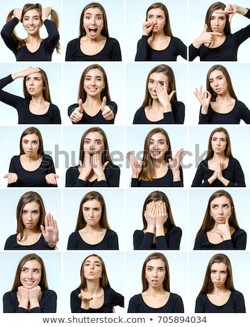 Femme différent expressions faciales illustration visage fond Photo stock © bluering