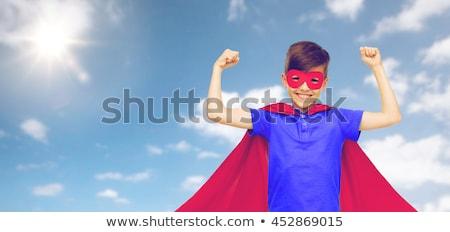 мальчика · красный · superhero · маске · карнавальных - Сток-фото © dolgachov