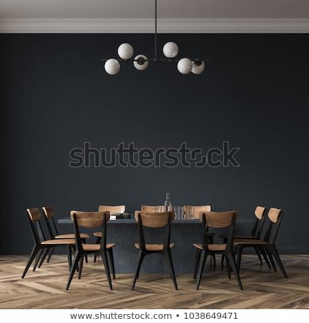 Moderno interior sala de jantar luz projeto tabela Foto stock © Elnur