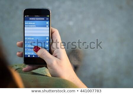 nő · mobil · okostelefon · rakomány · számla · női - stock fotó © stevanovicigor
