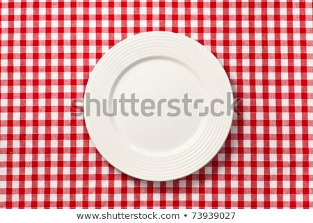 boş · piknik · masası · masa · örtüsü · beyaz - stok fotoğraf © jirkaejc
