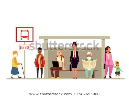 Dzieci przystanek autobusowy ilustracja drogowego studentów chłopca Zdjęcia stock © adrenalina