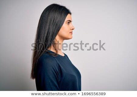 セクシー · 女性 · 立って · 黒のランジェリー · 孤立した - ストックフォト © deandrobot