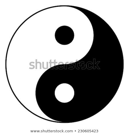 Yin yang simbolo illustrazione nero silhouette cultura Foto d'archivio © adrenalina
