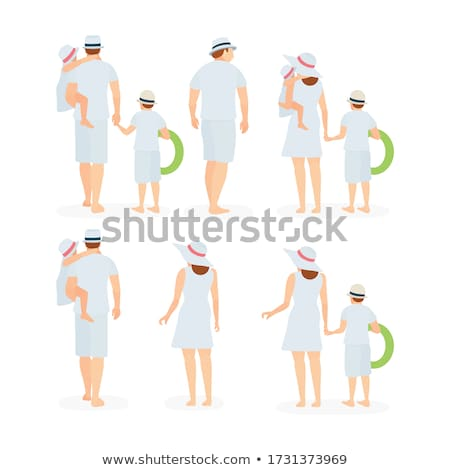 Back view of woman in beachwear and hat on beach Stock photo © deandrobot