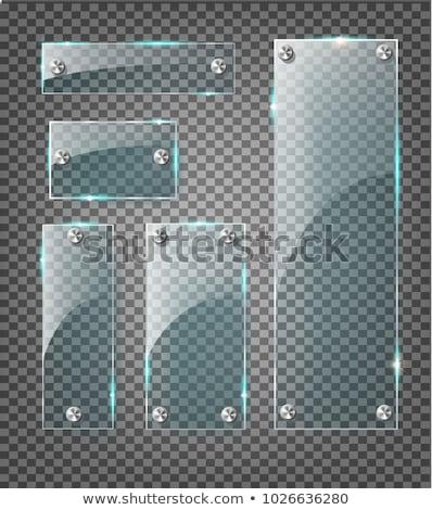 透明な ガラス プレート アップ 青 木製 ストックフォト © pakete