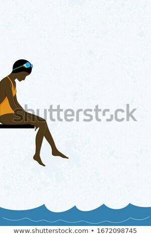 женщину купальник сидят совета глядя Сток-фото © chesterf